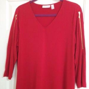 Susan Graver Red Slinky Knit V-Neck Top Size L
